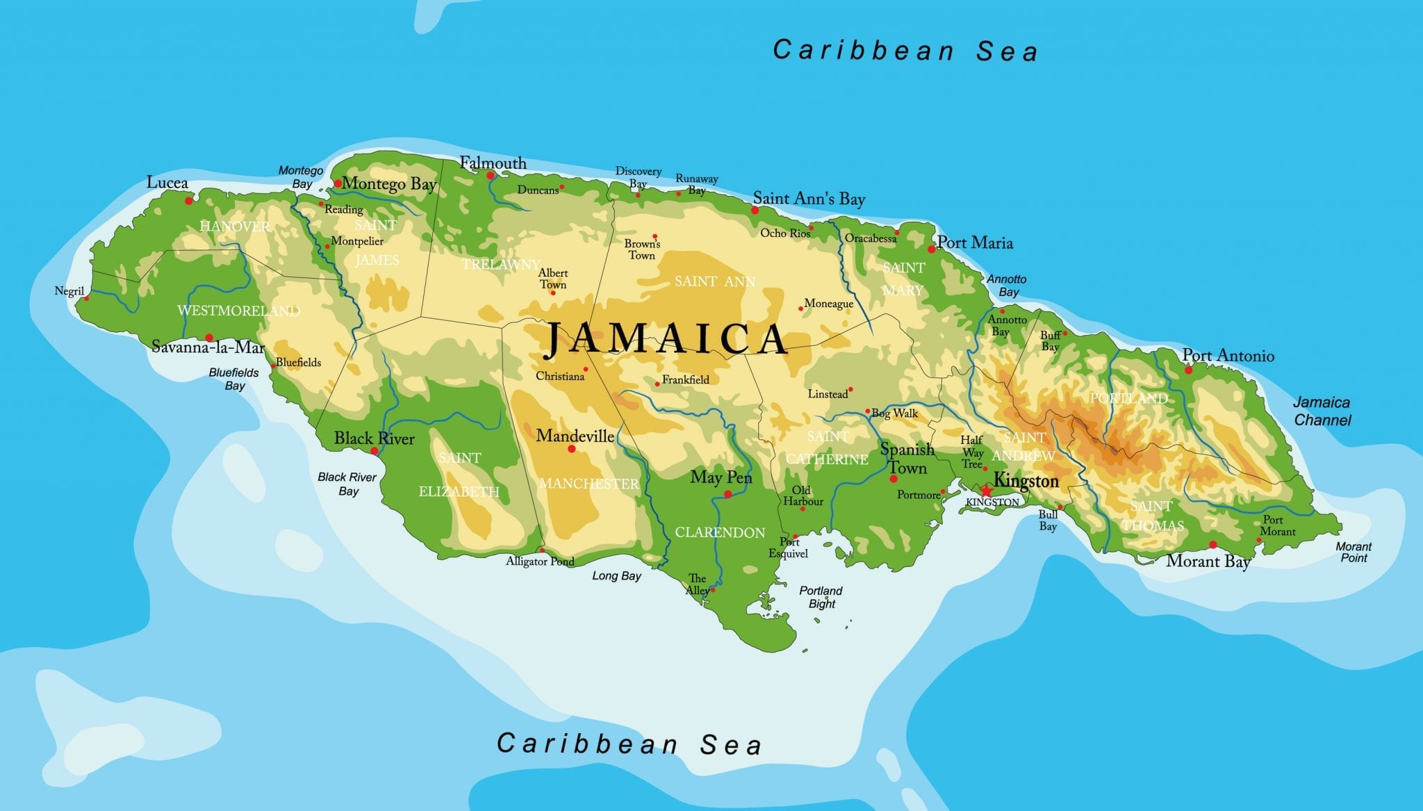 Detailed Map Of Jamaica Scaled 1