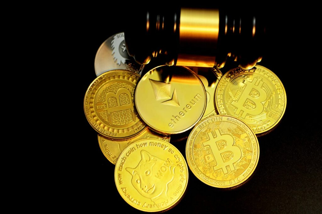 Gold Round Coins On White Background